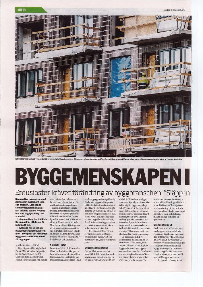"""""""Byggemenskapen i fokus – Släpp in fler alternativ"""", Artikel ETC av Sara Märta Höglund 2020-01-18"""
