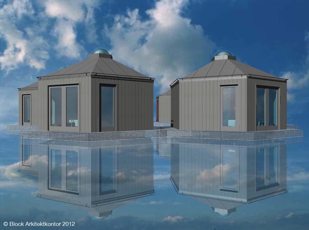 Exempel hotellrum på vatten i hexagon-form Stugbyn i Sverige AB