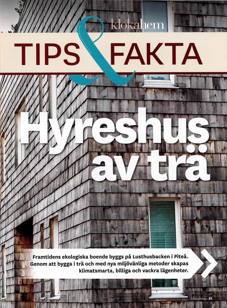 Hyreshus av trä, Lusthusbacken Piteå, Kloka Hem Nr 1 2018