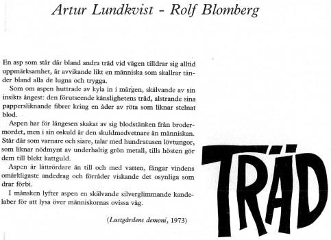 Artur Lundkvist - Rolf Blomberg ur Lustgårdens demoni 1973