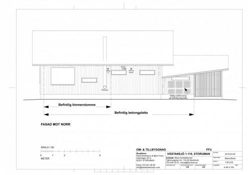 Västansjö A-ritning Fasad mot norr 2018-03-05