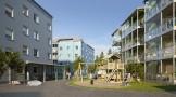 Lekplats mellan husen, Södra Karlgårds BRF, Skellefteå. Visualisering Diakrit.
