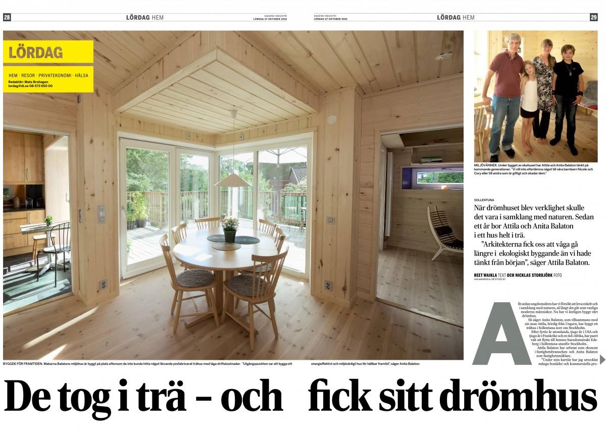 """""""De tog i trä – och fick sitt drömhus"""", Om Villa Balaton –Dagens Industri 2012-10-27"""